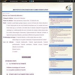Dossier sur l'autorité éducative - LES FUTURS CADRES D'EDUCATION