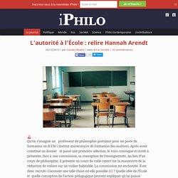 L'autorité à l'École : relire Hannah Arendt
