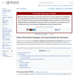 Liste d'autorités chargées de la protection des données