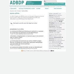 Offres d'emploi ADBDP