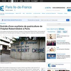 Suicide d'une auxiliaire de puériculture de l'hôpital Robert-Debré à Paris