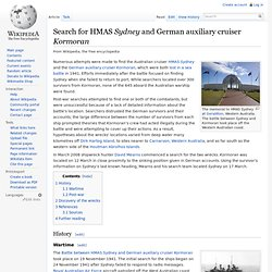 Search for HMAS Sydney and German auxiliary cruiser Kormoran