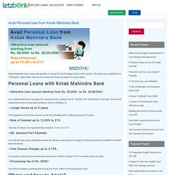 Avail Personal loan from Kotak Mahindra Bank,