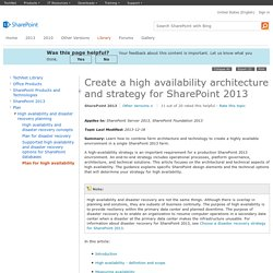 Create a high availability architecture and strategy for SharePoint 2013