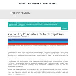 Availability Of Apartments In Chitlapakkam ~ Property Advisory Blog-Hyderabad
