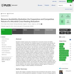 PLOS Biology: Resource Availability Modulates the Cooperative and Competitive Nature of a Microbial Cross-Feeding Mutualism