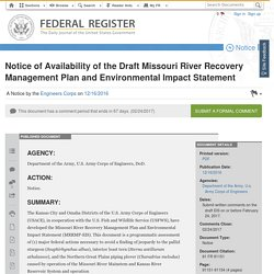 Draft of Missouri River Recovery Management Plan and Environmental Impact Statement [Federal Register]