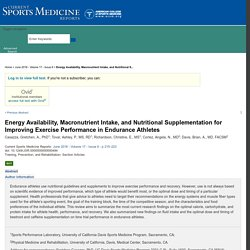 Energy Availability, Macronutrient Intake, and Nutritional S... : Current Sports Medicine Reports