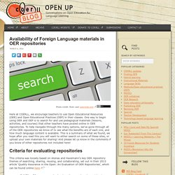 Availability of Foreign Language materials in OER repositories