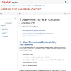 Determining Your High Availability Requirements