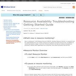 Resource Availability Troubleshooting Getting Started Guide