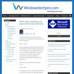 ADFS High Availability and Disaster Recovery Overlook – Windowstechpro.com