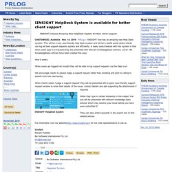 IINSIGHT (OH Case Management Software) Release New Helpdesk System