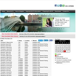 Available Test Dates - Official IELTS Test Centre - CES - Dublin - Ireland