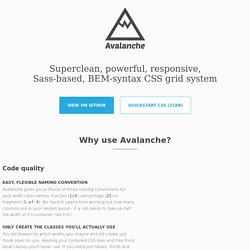 Avalanche - Responsive, Sass-based, BEM-syntax CSS grid system