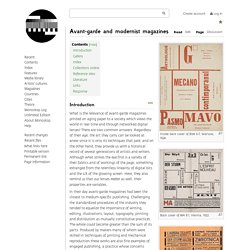 Avant-garde and modernist magazines