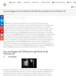 Les avantages et inconvénients de l'iPhone en général et de l'iPhone 4S - iPhone Occasion