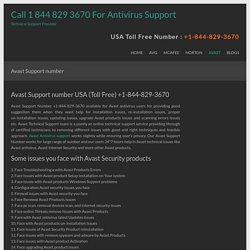 Avast Support number USA (Toll Free) +1-844-829-3670