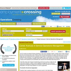 Service Industry, Service Operations Management, Service Organization, Career Avenues