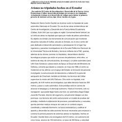 Aviones no tripulados hechos en el Ecuador