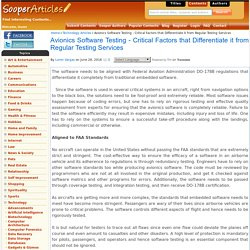 Avionics Software Testing - Critical Factors that Differentiate it from Regular Testing Services