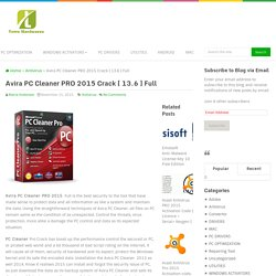 Avira PC Cleaner PRO 2015 Crack [ 13.6 ] Full
