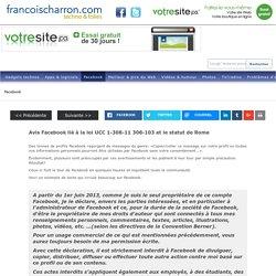 Avis Facebook lié à la loi UCC 1-308-11 308-103 et le statut de Rome