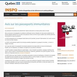 Avis sur les passeports immunitaires / INSPQ, avril 2021