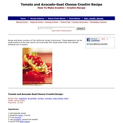 Tomato and Avocado-Goat Cheese Crostini Recipe, How To Make Crostini, Appetizer Recipes, Tomato Recipes, Avocado Recipes