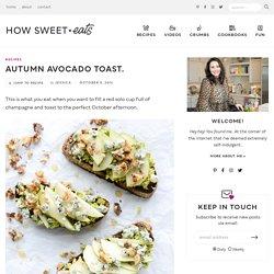 Autumn Avocado Toast with Gorgonzola, Pears, Toasted Walnuts and Honey