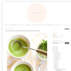 Pea and avocado soup with watercress and snow pea sprouts