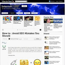 How to : Avoid SEO Mistakes You Should