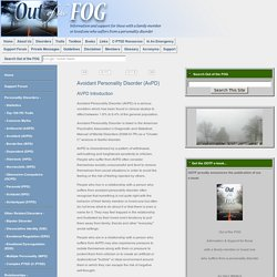 Out of the FOG - Avoidant Personality Disorder