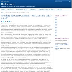 "Avoiding the Great Collision: ""We Can Save What is Left"""