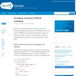 Avoiding common HTML5 mistakes