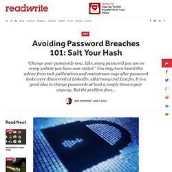 Avoiding Password Breaches 101: Salt Your Hash