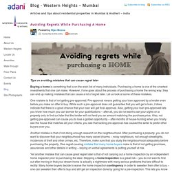 Avoiding Regrets While Purchasing A Home