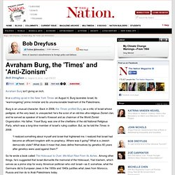 Avraham Burg, the 'Times' and 'Anti-Zionism'