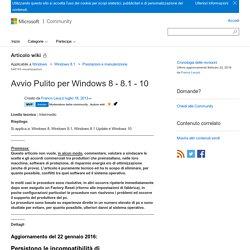 Avvio Pulito per Windows 8 - 8.1 - 10