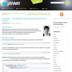 Awaitility – Java DSL for easy testing of asynchronous systems — Jayway Team Blog
