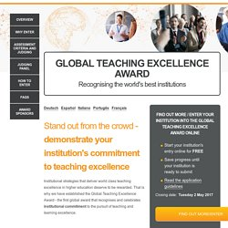 GLOBAL TEACHING EXCELLENCE AWARDRecognising the world's best institutions