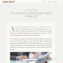 Do you aware of Real Estate Agent – What is It? – Angus Reed