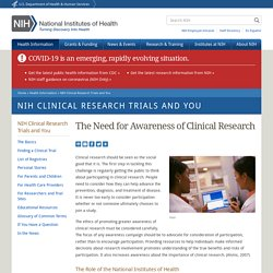 The Need for Awareness of Clinical Research
