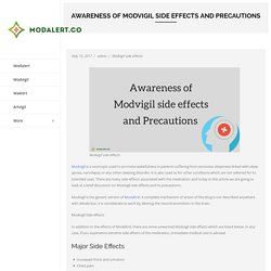 Awareness of Modvigil side effects and Precautions - Modalert.Co