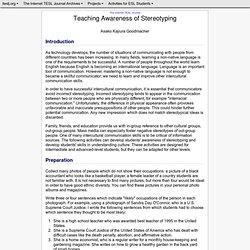 Kajiura-Teaching Awareness of Stereotyping