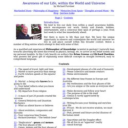 Awareness of our Life, World and Universe : by Michael Furstner