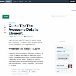 Quick Tip: The Awesome Details Element