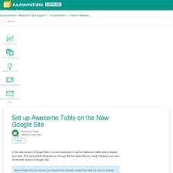 Set up Awesome Table on the New Google Site – Documentation - Awesome Table Support