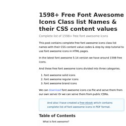 1598+ Free Font Awesome Icons Class list Names & their CSS content values