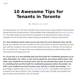 10 Awesome Tips for Tenants in Toronto